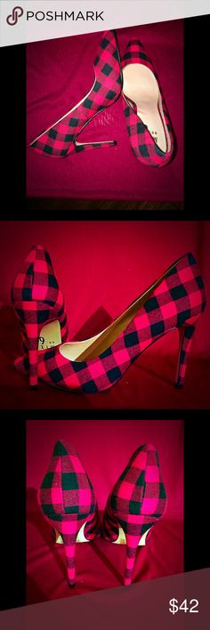 """Brand New! Red plaid flannel pumps w/ gold studs! Seductive yet cute! A twist to the red pump! This red plaid flannel has a gold studded feature on pump and is sure to put the pop in any closet. Stand out from the average red flannel pump. These are custom and unique. Size: 8M. Heel height: 3"""" Shoes Heels"""