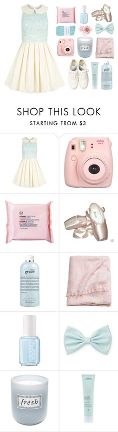 """""""look for the girl with the broken smile"""" by ajlutz04 ❤ liked on Polyvore featuring Chi Chi, Fujifilm, The Body Shop, Sansha, Lacoste, philosophy, H&M, Essie, Forever 21 and Fresh"""