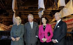 Britain's Prince Charles (2nd L) and his wife, Duchess of Cornwall Camilla (L), pose with Sweden's King Carl Gustaf and Queen Silvia in front of a model of Swedish warship Vasa at the Vasa Museum in Stockholm Photo: REUTERS