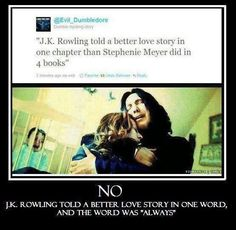 people say that lily should have stayed with snape, but she didnt because she did not love him. he went down a path that she would not follow, and when he wanted to change, it was to late.