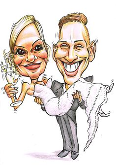 Colour caricature of bride and groom for wedding invitations Wings Sketch, Wedding Caricature, Caricature Artist, Wedding Props, Illustrations And Posters, Corporate Events, Yorkshire, Cool Art, Wedding Invitations