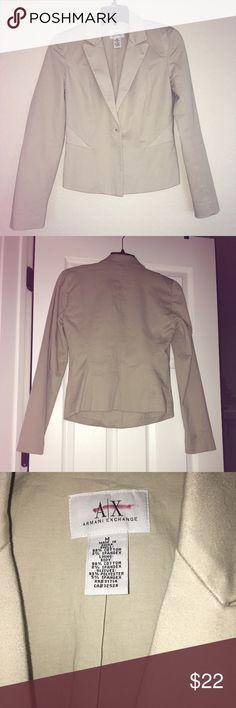 AX Armani exchange tan blazer Cute blazer in tan by Armani exchange in Size M. 98% cotton , 2% spandex A/X Armani Exchange Jackets & Coats Blazers