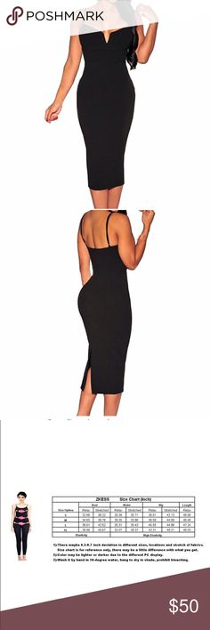 💖HP💖Black plunging v-neck bodycon cocktail dress Black sexy plunging v-neck bodycon cocktail dress. Has spaghetti straps and slit up the black. Very flattering and very sexy Dresses Midi
