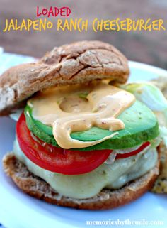 Loaded Cheesy Jalapeno Ranch Cheeseburger - Memories By The Mile #SayCheeseburger #shop #cbias