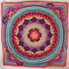 """This is a photo tutorial for """"squaring up"""" Sophie's Mandala."""