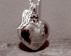 Urn Memorial necklace silver heart personalized locket urn for cremation ashes hair funeral flowers or a special note.