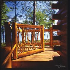 """Organic"" log and twig railing"