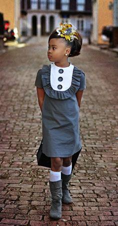 adorable gray girl's dress & boots