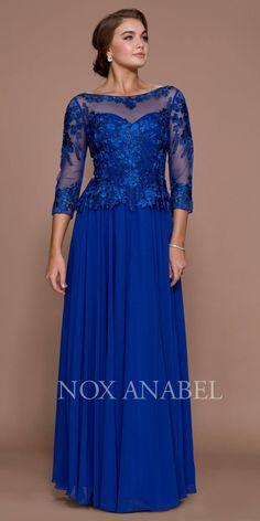 Sapphire Illusion Appliqued Long Formal Dress Mid-Sleeve.  DiscountDressShop. Dress Brokat 22dc8d77a6c2