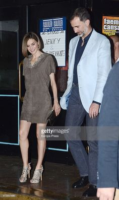 King Felipe VI of Spain and Queen Letizia of Spain leave the scientific monologue international contest final 'Famelab' at Galileo Galilei Sala on May 14, 2015 in Madrid, Spain.