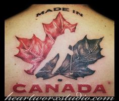 Huge and realistic, high detail maple leaf, veiny leaf, lovely Body Art Tattoos, Sleeve Tattoos, Cool Tattoos, Tatoos, Awesome Tattoos, Smaug Tattoo, I Tattoo, Quotes Girlfriend, Canadian Tattoo