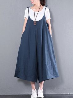 7cb1a84d3fc1 Casual Women Pure Color Sleeveless Straps Wide Leg Jumpsuit With Pockets