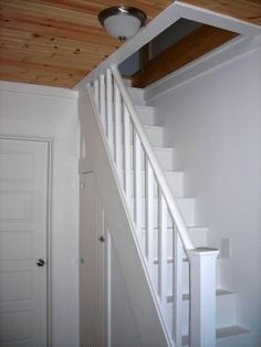 "The more I think about it, the more I'd like to have stairs, even if they're a little narrow...finehomebuilding.com Having a wide hall (and a predilection for stairs), a tiny staircase leading to the attic with a built-in closet underneath seemed a perfect fit - especially for an ""old"" New England farmhouse."