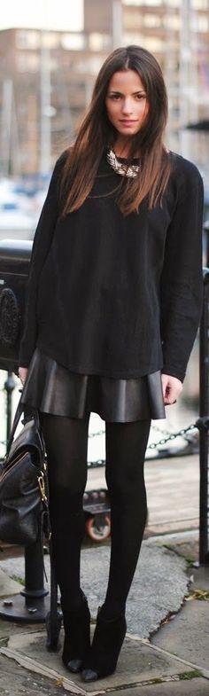 Black street fashion brunette