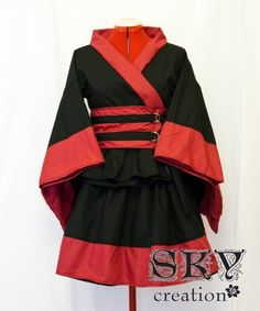 Custom Black X Red Kimono Dress Set by skycreation on Etsy, $80.00