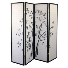5.83 ft. Black 4-Panel Room Divider R530-4 - The Home Depot