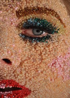Face entirely covered with seed beads. - - My best makeup list Body Makeup, Beauty Makeup, Eye Makeup, Weird Makeup, Makeup Inspo, Makeup Inspiration, Makeup Collage, Make Up Art, How To Make