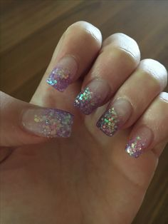 Nails - purple/pink glitter French tips
