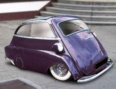 Purple lowrider BMW Isetta sorry I had to pin this lol Bmw Isetta, Bmw E46, Microcar, Weird Cars, Sweet Cars, Cute Cars, Small Cars, Lowrider, Bmw Cars