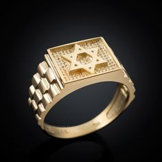 Solid Gold Star of David Jewish Mens Square Ring with rolex design band. Available in yellow, white, rose gold. Weight: and Top width: mm). Made in USA. Mens Gold Rings, Rings For Men, Yellow Gold Rings, White Gold, Rose Gold, Solid Gold, David Ring, Mens Diamond Stud Earrings, Rolex