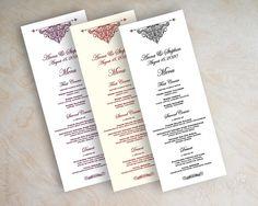 Wedding menu card, printable wedding menu, diy wedding menu, wedding reception menu, tower menu, tea length menu, filigree, vintage, Aubrey on Etsy, $25.00