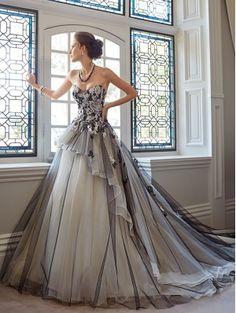 Romantic Lace Appliqued Gothic Wedding Dress