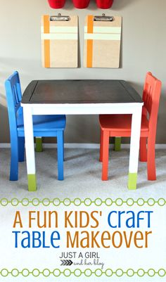 A Fun Kidsu0027 Craft Table Makeover