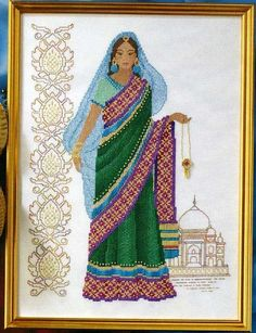 0 point de croix femme indienne hindoue - cross stitch hindu lady from india part 1