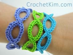 """Add this project to your Ravelry favorites HERE.  To print or convert to PDF click the green """"Print Friendly"""" button below the pattern.   Stretchy Bracelets designed by Kim Guzman © Aug. 2015 Email to kim@crochetkim.com Please read my Terms of Use Technique: Regular Cro"""