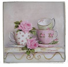 Ready to Hang Print - Stacked Tea Cups & Roses-POSTAGE IS INCLUDED AUSTRALIA WIDE