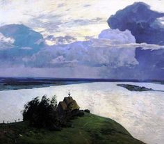 Isaac Levitan - Above Eternal Peace. Study. 1894. Oil on canvas. Tretyakov Gallery, Moscow, Russia
