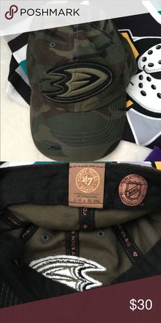 Anaheim Ducks Camo embroidered hat Gentle used, mint condition. Smoke-free pet-free home. Camo slightly stretchy cotton unstructured hat. Very comfortable! Unisex style. Forty Seven Franchise Accessories Hats