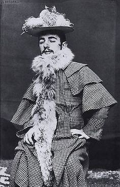 TOULOUSE LAUTREC IN DRAG <3 Henri de Toulouse-Lautrec (famous for cabaret posters) in the clothes of Moulin Rouge showgirl Jane Avril, photo by Nadar, 1894.