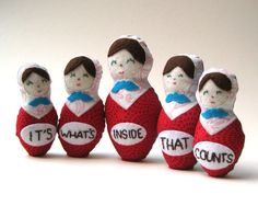 """Matryoshkas Cloth Nesting Dolls on Etsy - set of five eco-friendly matryoshka dolls are hand embroidered and together they say """"its what's inside that counts""""."""