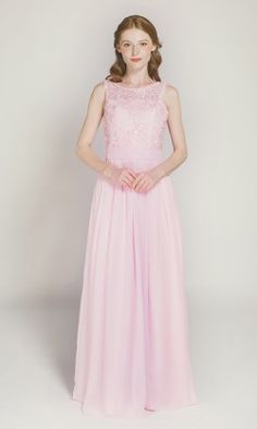 a4762e47ec6e Full Length Sleeveless Lace and Chiffon Bridesmaid Dress with Keyhole Back  TBQP409