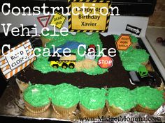 Construction Vehicle Cupcake Cake how to