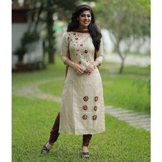 Ivory Tussar Suit with Embossed Floral work Silk Kurti Designs, Kurta Designs Women, Salwar Designs, Kurti Designs Party Wear, Dress Neck Designs, Designs For Dresses, Bridal Blouse Designs, Kurti Embroidery Design, Embroidery Suits