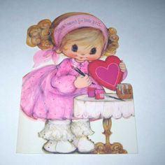 Vintage 1970s Valentine Greeting Card with Sweet Little Girl in Pink and Purple Dress Making a Valentine Card
