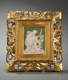 Marc Louis Solon Decorated Pate-sur-Pate Tile, France, c. 1865, rectangular shape, green ground with white slip allegorical figures, inscribed Miles, the reverse signed Rousseau, 4 3/4 x 6 in.; mounted in a gilt wood frame.  Solon left France and worked in the Staffordshire Potteries