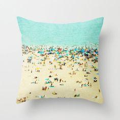 Throw Pillows - Hostess Gifts - Coney Island Beach Beach Hut Decor, Beach Pillow, Blue Pillows, Turquoise Pillows, Teal Pillows