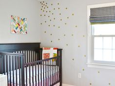 Home tour (burlap+blue) - use contact paper for dots for a touch of pink in her room