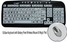 Introducing Large Print EZSee by DC  New Improved  USB Wired Computer Keyboard for Low Vision Users White Keys with Black Letters Bundled With Battery Free Wireless Mouse  Magic Pad. Great Product and follow us to get more updates!