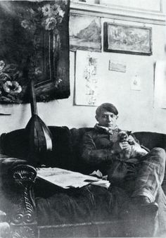 Pablo Picasso in his studio, c. 1910-11