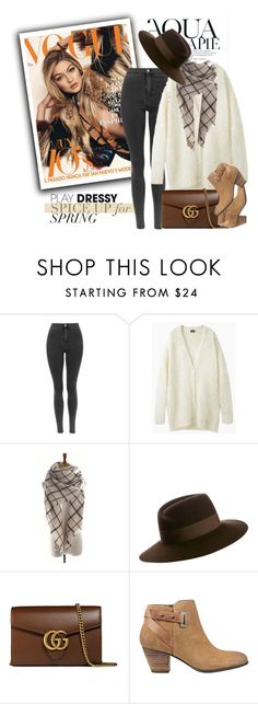 """Brown Mix"" by genuine-people ❤ liked on Polyvore featuring Anja, Maison Michel, Gucci, GUESS, Fall and brown"