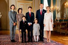 Danish royal family:Prince Joakim with wife Marie and 2 chn Henrik and athena plus ex wife Alexandra and 2 chn Nikolai and Felix