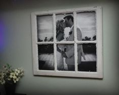 Big photo inside an old window frame. Love it!