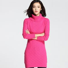 50df87b1a 2017 New Fashion Women Thick Twist Turtleneck Cashmere Pullovers Knitted  Solid Regular Long Sweater Dress -