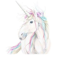 Unicorn with rainbow colored mane Watercolor Art, Animal Art, Drawings, Mythical Creatures, Cute Art, Art, Unicorn Painting, Unicorn Drawing, Unicorn Art