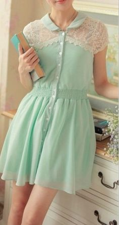 Mint green dress. Too cute, maybe paired with coral pumps?