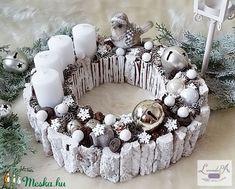 Adventi koszorú (levenduladekor) - Meska.hu Christmas Diy, Xmas, Advent Candles, Advent Wreath, Diy And Crafts, Lily, Wreaths, Holiday Decor, Winter